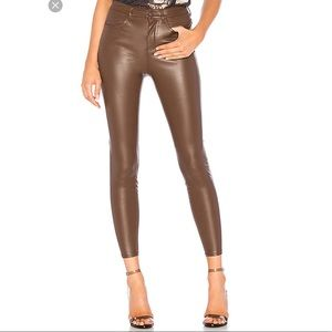 NWT free people vegan leather brown jeans